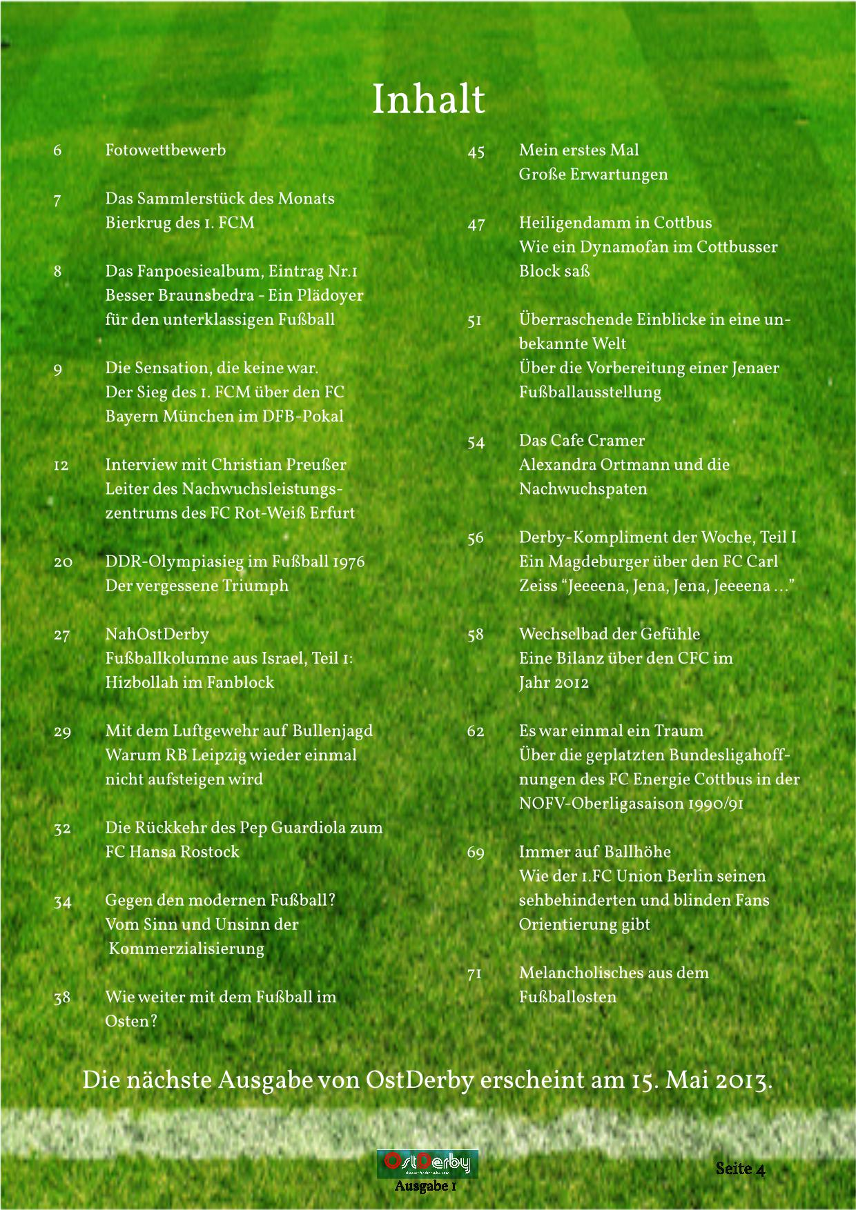 OstDerby Ausgabe 1 - Inhaltsverzeichnis