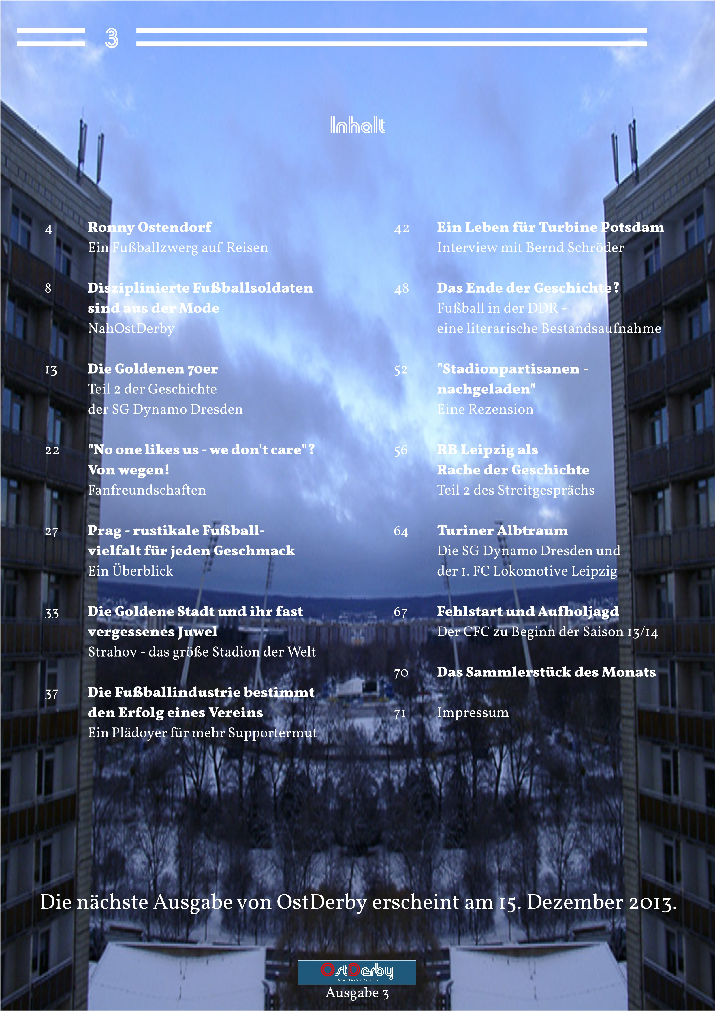 OstDerby Ausgabe 3 - Inhaltsverzeichnis